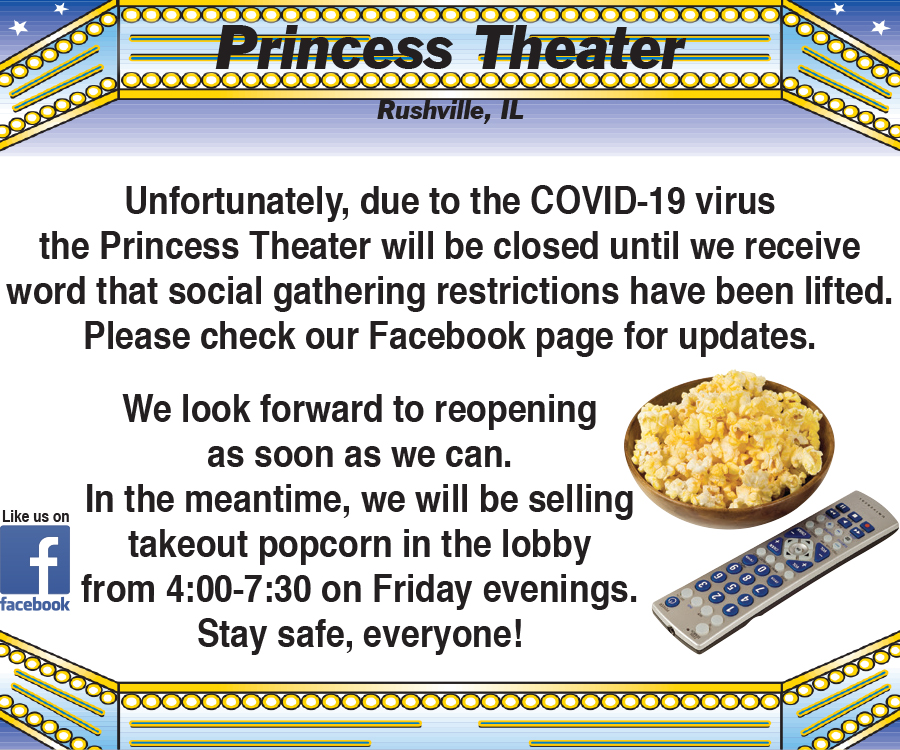 Princess Theater popcorn sale Fridays from 4-7 pm during COVID-19 shut down.