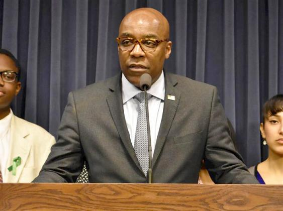 "Attorney General Kwame Raoul joined 17 other attorneys general in asking Congress Thursday to grant their offices the power to investigate ""practices of unconstitutional policing."" He is pictured in a file photo from May 2019. (Capitol News Illinois photo by Lindsey Salvatelli)"