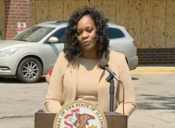 Senate Majority Leader Kimberly Lightford, D-Maywood, speaks at a news conference Wednesday on the west side of Chicago as she joins Gov. JB Pritzker in unveiling $900 million in aid programs related to COVID-19 and property damage resulting from civil unrest. (Credit: Blueroomstream.com)