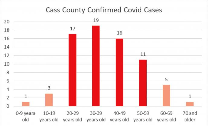 By the numbers — This bar graph shows a breakdown of the age groups within the county affected by the COVID-19 virus.