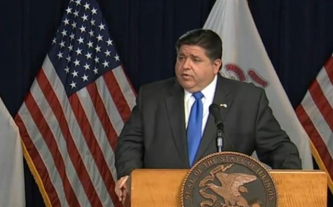 Gov. JB Pritzker takes questions about the state's COVID-19 response at an update in Chicago Wednesday. (Credit: Blueroomstream.com)