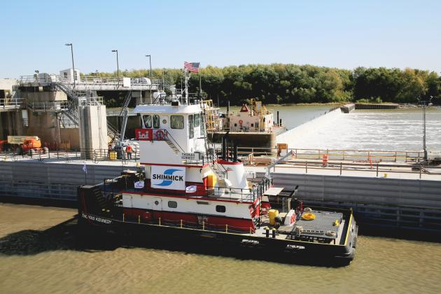 Just passin' through — The Motor Vessel Thomas Kennedy was the first boat to transit the lock chamber at the LaGrange Lock and Dam on the Illinois River. (Photo by Brian DeLoche)