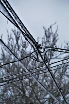 Frozen power lines over State Street in Beardstown. (Photo by David V. Miller)