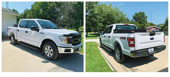 Authorities are searching for an unmarked Ford F-150 crew cab police vehicle stolen Sunday night in Pleasant Plains.