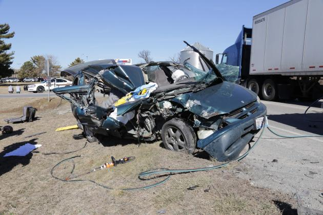 Pictured is the wreckage of the Dodge Caravan driven by Christopher Stoneking on Feb. 17, 2017, when it collided with the back of a semi-tractor trailer truck stopped in traffic as it waited to turn into the JBS parking lot.